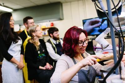 Instructor Julie Anctil performing a demo